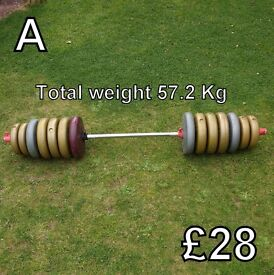 Exercise Equipment (A) - Weights & Bar - total weight 57.2 Kg