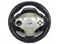 PC & Play Station Gaming Genius Twin Wheel F1 - Vibration Feedback Racing Wheel for with D-Pad