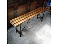 vintage folding bench, industrial bench, wooden bench, kitchen bench, rustic vintage wooden bench,