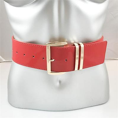 """NEW WOMENS XL PLUS SIZE GOLD BUCKLE WIDE PATENT LEATHER 2"""" FASHION BELT RED"""