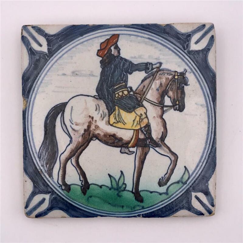 "Antique Delft Blue Polychrome Faience Pottery 5"" Tile Man on Horseback"