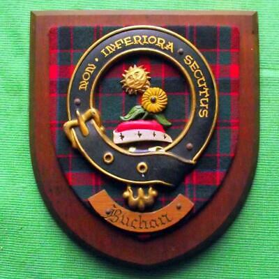 Vintage Nice Scottish Carved Oak CLAN BUCHAN Tartan Plaque Crest Shield