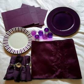 Purple dinner set new never used