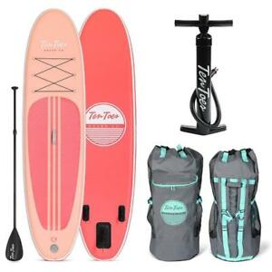 Brand New Ten Toes SUP Emporium Ten Toes Weekender Inflatable Stand Up Paddle Board Bundle, Coral model 2812 DI15