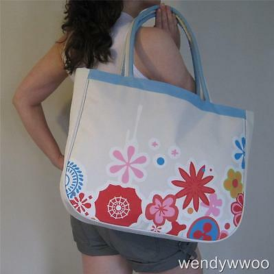 BEACH BAG Cream & Blue with Red Pink & Blue Flowers,Huge,Tote,big,hand,NEW ()