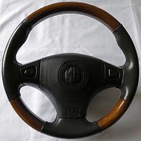 Lovely Original MGF MGTF MG TF Walnut Wood & Leather Steering Wheel inc. Airbag