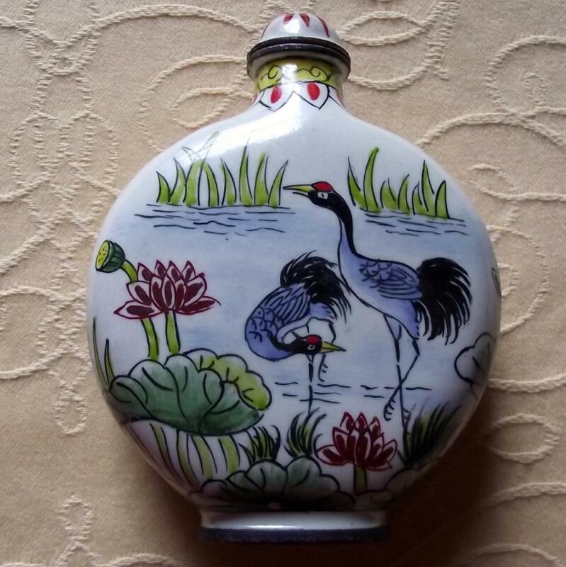 Vintage Qianlong Signed Chinese Oriental Snuff Perfume Bottle Enamel on Copper J
