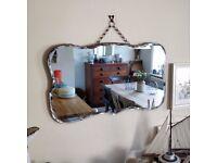 vintage mirror. hanging mirror. mirror on chain. antique mirror. hall mirror. wall mirror.