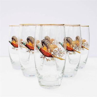 Vintage Glasses Tumblers Retro Set 6 Game Bird Pheasant