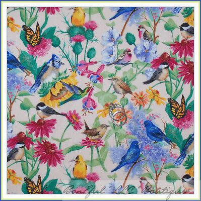 BonEful Fabric FQ Cotton Quilt Spring Pink Blue BIRD Green Leaf Butterfly Flower