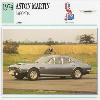 1974 ASTON MARTIN LAGONDA Classic Car Photograph / Information Maxi Card