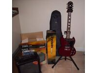Epiphone SG Electric Guitar, Guitar Amplifier, Guitar Case, Guitar Stand, spare strings and picks