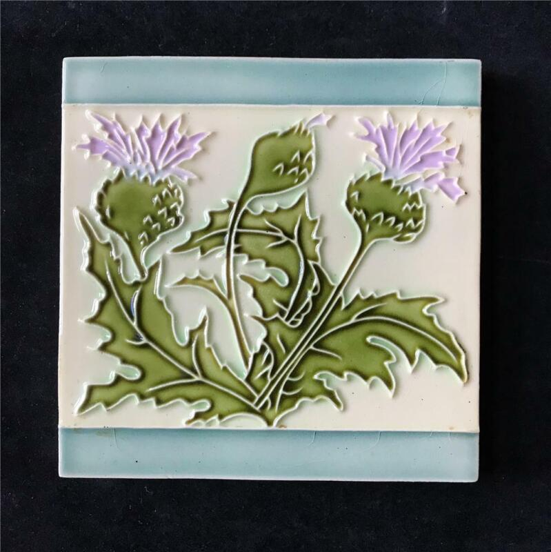 "Anitque Art Nouveau 6"" Floral Thistle Ceramic Pottery Tile France or Belgium"