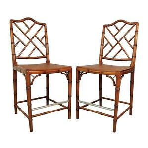 Pair Faux Bamboo Chinese Chippendale Ermel Spain Side