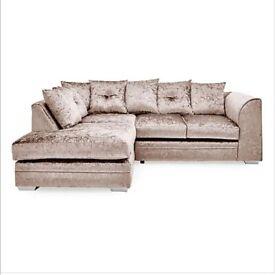 Mink crushed velvet left L corner sofa.