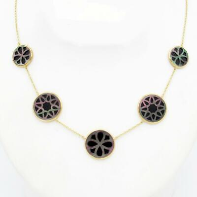 """New IPPOLITA 18K Rock Candy Cut Out Abalone Onyx NECKLACE 18""""  MSRP $2495."""
