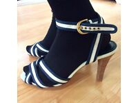"""RIVER ISLAND heels size 6 shoe Strappy sandals RETRO Nautical Ankle strap wooden Navy Cream Ascot 4"""""""
