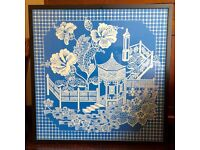 Cornflower blue painting 42 inches square. Chinese pagoda design. On wood, framed.