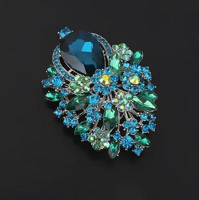 Vintage Alloy Rhinestone Crystal Flower Wedding Bridal Bouquet Brooch Pin