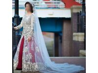 Customised indian wedding lehenga gown dress with trail and veil. Worn only once for a few hours.
