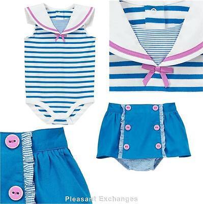 NWT Gymboree 6 9 12 mos HIPPOS & BOWS 2pc Sailor Top Skort & Skirt Bloomer TWIN