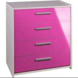 BRAND NEW - PINK GLOSS - GORGEOUS - Chest of Drawers - Flat Packed - £49