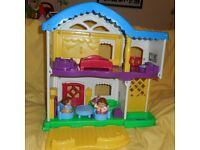 Fisher Price small people sets including: House, Garage, Aeroplane, Cement mixer truck with figures