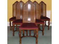 Set of 6 French, cane-back dining chairs