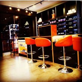 SHOP DISPLAY CABINETS- BLACK GLOSS AND ORANGE