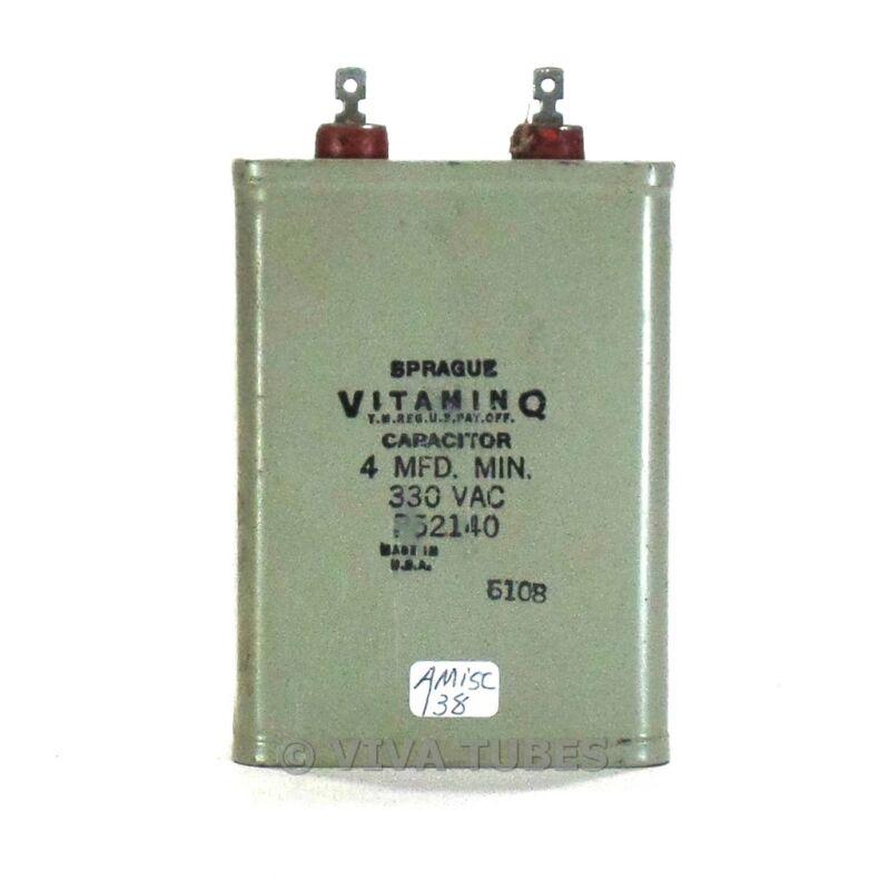 Vintage Sprague Vitamin Q 4 MFD MIN. 330 VAC Paper in Oil Capacitor
