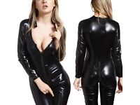 FOREVER YOUNG LADIES BLACK SHINY PVC ELASTIC LONG LEG AND SLEEVE ZIP UK SIZE M £69.99 JUMPSUIT..