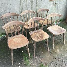 Vintage Antique Pine Dinning Kitchen Pub Chairs - 10 Available