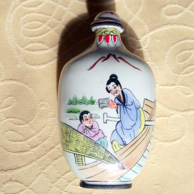 Vintage Qianlong Signed Chinese Oriental Snuff Perfume Bottle Enamel on Copper T