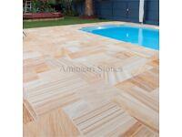 Teakwood Sawn Smooth Sandstone Paving Slabs | 16.13m² Patio Pack | £385 | *FREE NATIONWIDE DELIVERY*