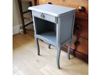 Grey bedside table. vintage french table. painted bedside. bedside table. (1429)