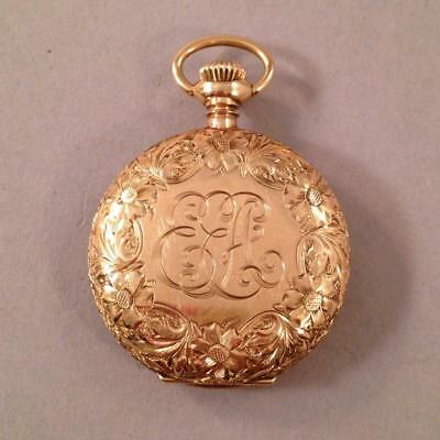 Ladies Pocket Watch Waltham 15j 0s Floral Engraved 14k Closed Case Runs! 14k Engraved Pocket Watch