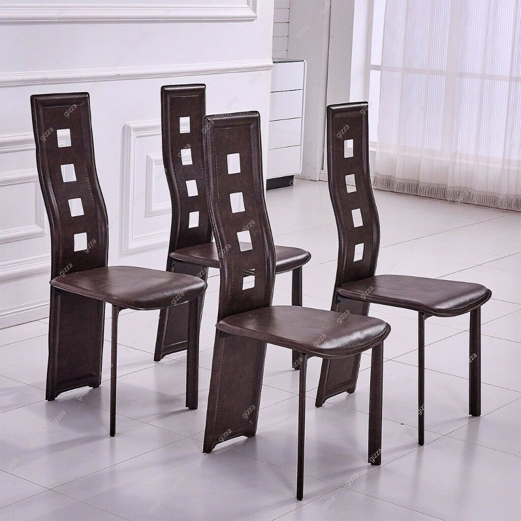 Stylish Set of 4 Brown Faux Leather Dining Chair High back