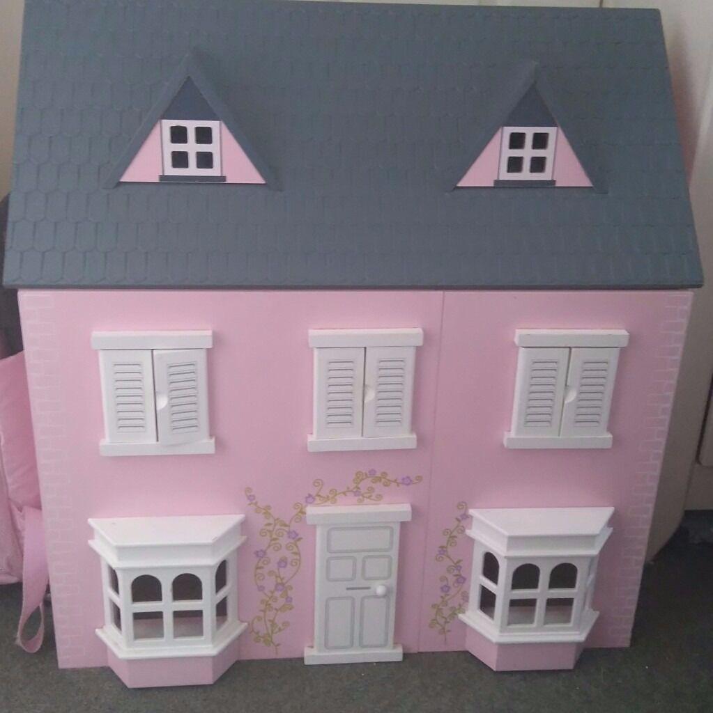 pink dolls house furniture. Beautiful Wooden Dolls House, Pink With Grey Roof Complete Furniture. House Furniture