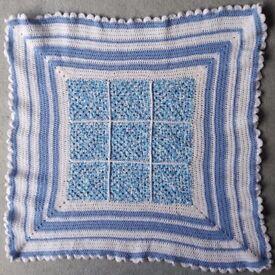 Hand Crocheted Baby Blanket Blue