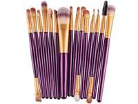 purple and gold 15 piece make up brush set