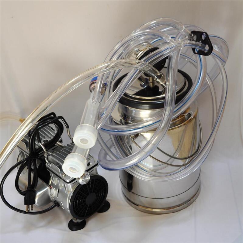 Complete Goat Bucket Milker Machine 3/4HP OILLESS vacuum pump SS Bucket Pulsator
