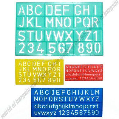 """4 pcs SET Alphabet Letters Numbers STENCIL Plastic 1.5"""" Font Sign Lettering C02"""