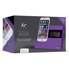 BRAND NEW KitSound X-Dock3 LCD Display Clock Radio Dock with Lightning Connector in Purple