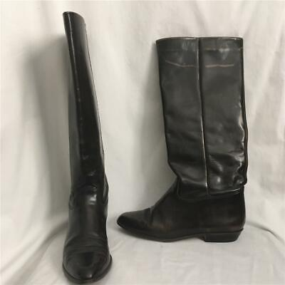 Vintage NINE WEST Brown Leather R-LOUISA Knee-High Flat Riding Style Boots