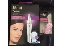 Braun 810 Women's Facial Epilator, Cleansing Brush and 2 replacment heads - Brand New - Boxed