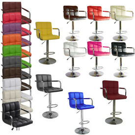 Havana New Breakfast Bar Kitchen Stools Faux Leather Swivel Dining Office Home Stool Chair Barstools