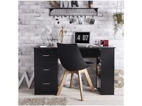 Black office desk with 3 drawers & 3 shelves
