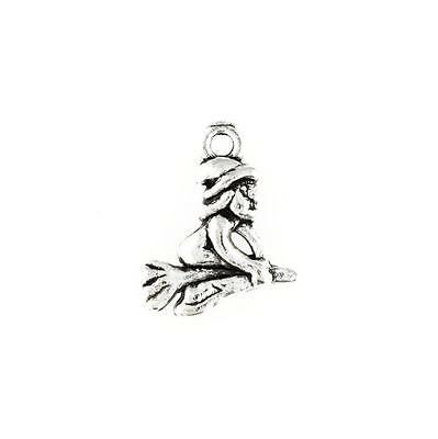 12 Witch Charms Antique Silver Tone Witch on Broom SC3889