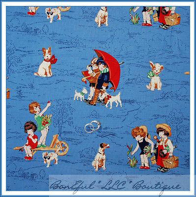 BonEful Fabric FQ Cotton Quilt Lil Rascal Dog Girl Boots Rain Umbrella Hummel US