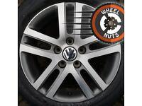"""16"""" Genuine VW Golf alloys Caddy Leon fair cond good tyres."""